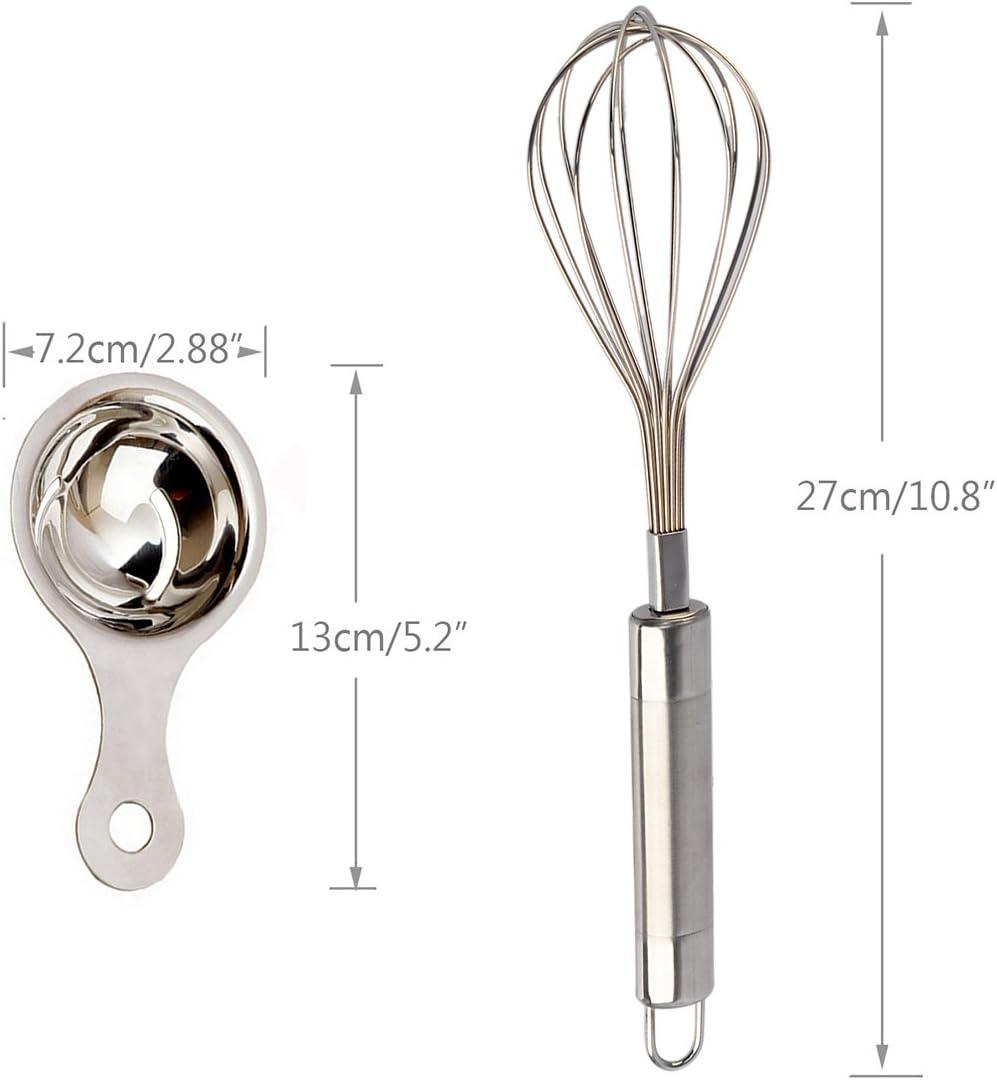 Egg Separator as Bonus haoun Stainless Steel Balloon Whisk for Kitchen Egg Milk Blending Whisking Beating Stirring