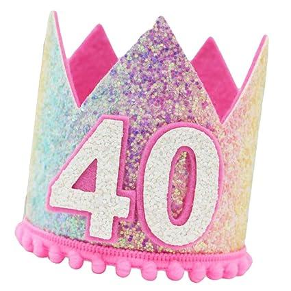 B Blesiya Sombrero de Cumpleaños con Purpurina Arcoiris para ...