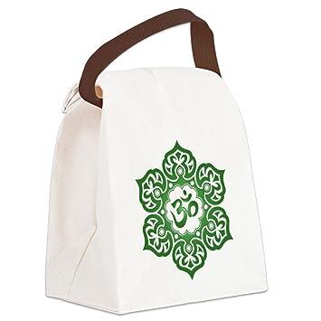 765a9d8a0c1d Amazon.com  CafePress - Green Lotus Flower Yoga Om Canvas Lunch Bag ...