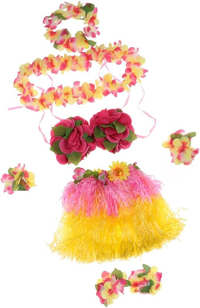 Baoblaze Set / 8pcs De Baile De Hierba De Hula Hawaiana Para Niñas ...