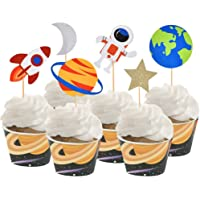 30 PCS Outer Space Cupcake Toppers Planet Party Supplies Birthday Decorations Rocket Astronaut Cupcake Decoration Outer…