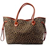 Leopard Tote Bag Cheetah Women Handbag with light brown PU Leather Handle and snap closure (Light brown)