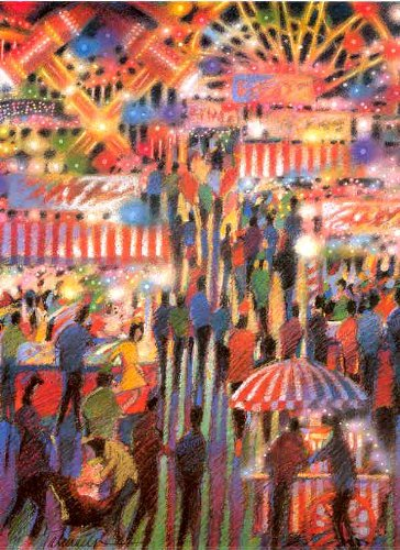(James Talmadge - Opening Night at the Carnival Hand Pulled Serigraph)