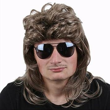 te-trend de 80 Mullet Peluca Hombre CANI macho Star postizo Rubio Oscuro Disfraz de