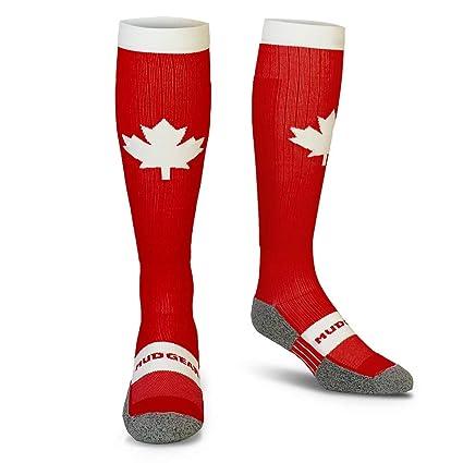 cccb4c18a2a Amazon.com  MudGear Canada Compression Socks - Red and White Tall ...