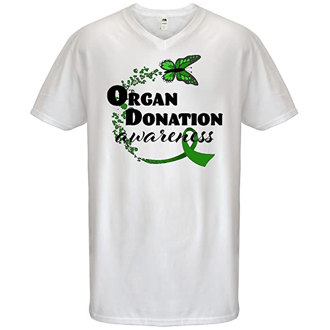 Inktastic Organ Donation Awareness With Butterfly T-Shirt Ribbon Green Mens Tees