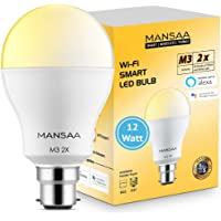MANSAA® Smart Bulb M3 2X CCT Smart LED Bulb, 12W B22 Holder, 2 Colors Wireless LED Bulb, Compatible with Alexa & Google Home, All Shades of White & Yellow Light (CCT), Dimmable, Made in India