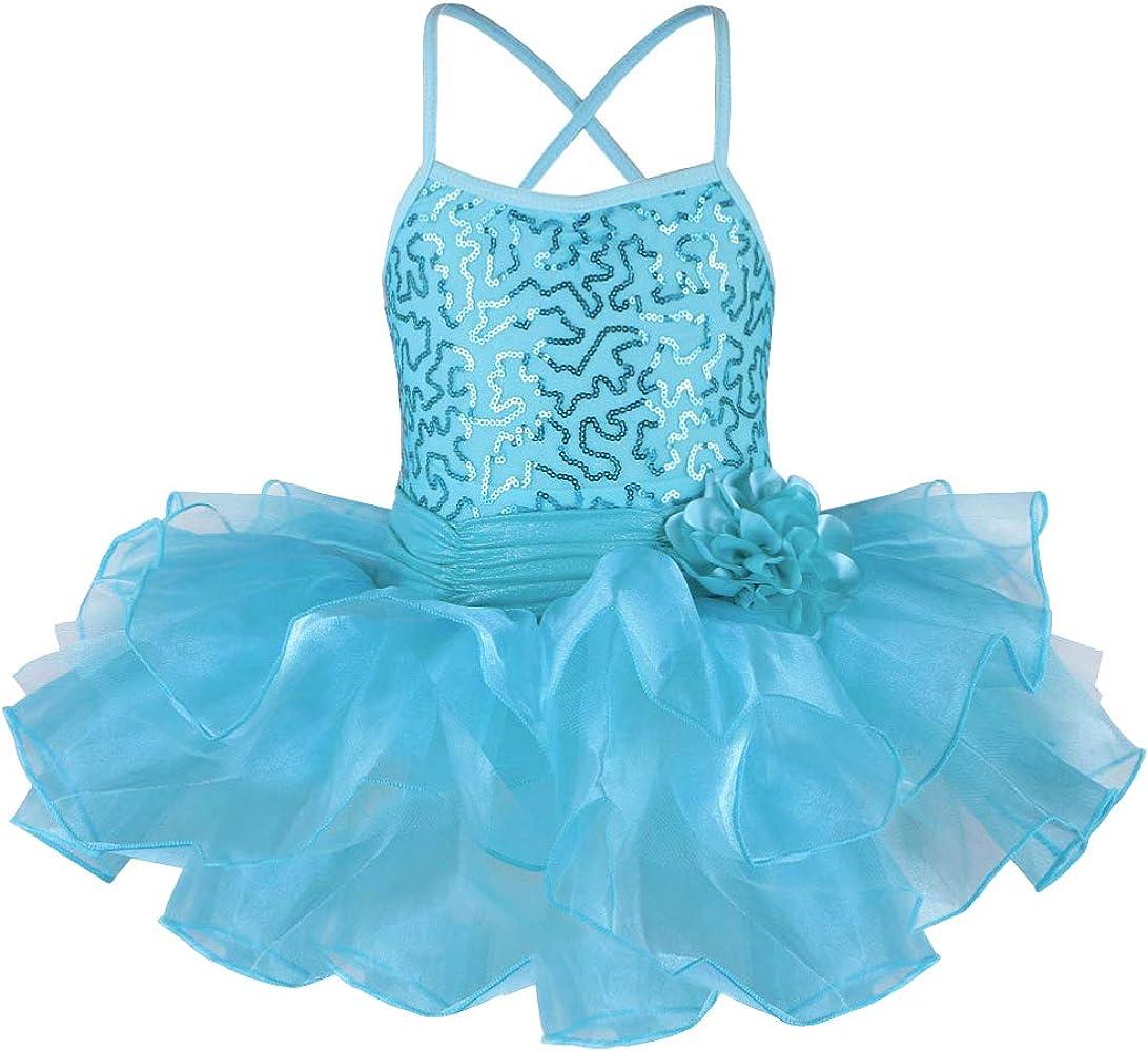 Girls Ballet Tutu Flower Dress Sequins Kids Gymnastics Dancing Leotard Costumes