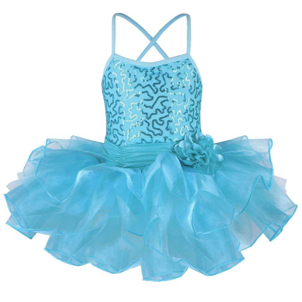 TFJH E Little Baby Girl's Ballet Outfits Shiny Sleeveless Leotard Tutu Blue S by TFJH E