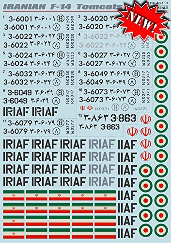 (DECAL FOR AIRPLANE IRANIAN F-14 TOMCATS IRANIA AIRCRAFT 1/48 PRINT SCALE 48-117)