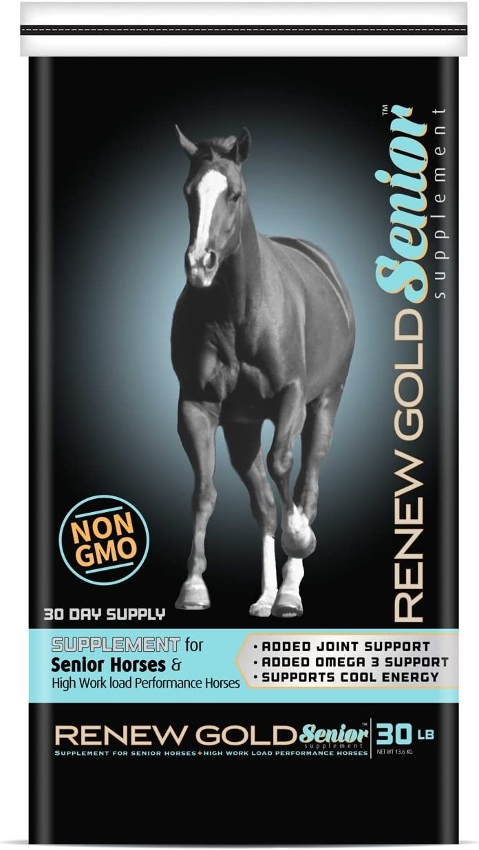 Renew Gold Supplement for Senior Horses | High-Fat Stabilized Rice Bran and CoolStance Coconut Meal | 30 Pounds