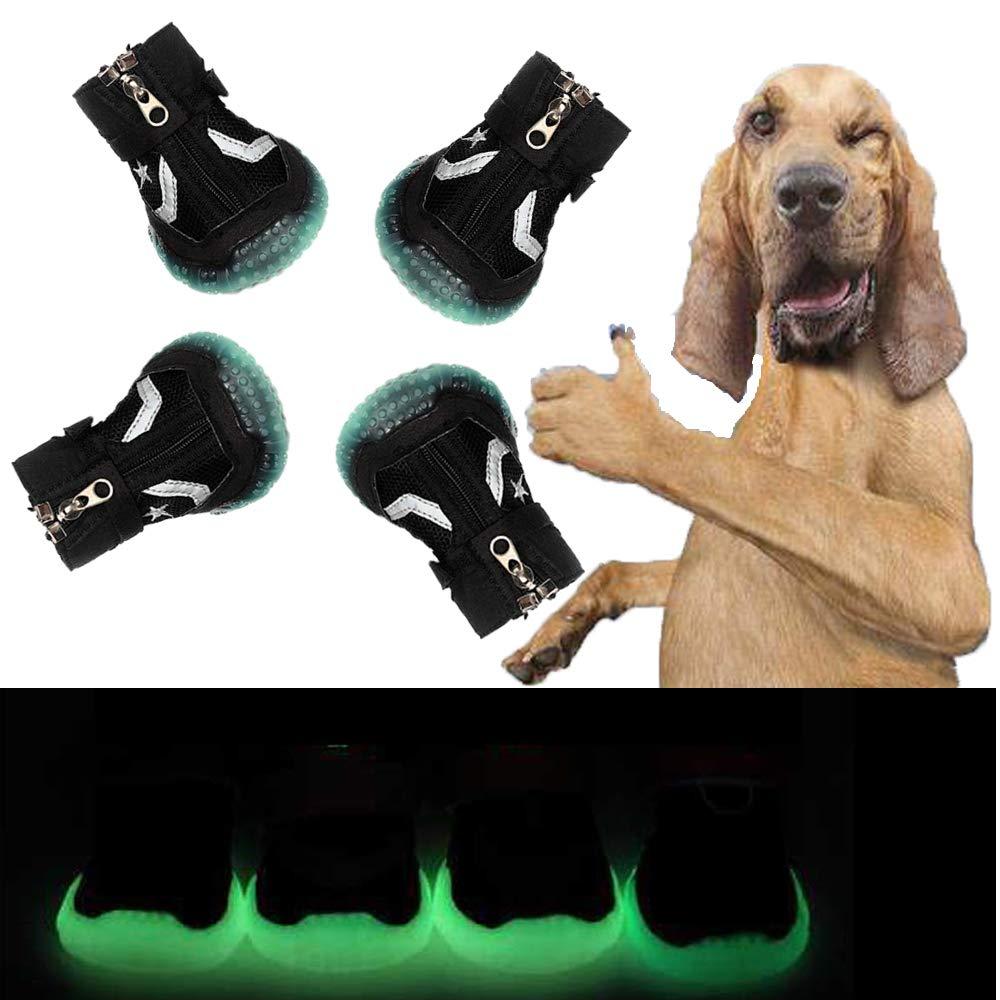 Sforza Hundeschuhe Pfotenschutz Hund, Gemütlich Sole mit Leuchtend bei Dunkelheit, Schwarz M