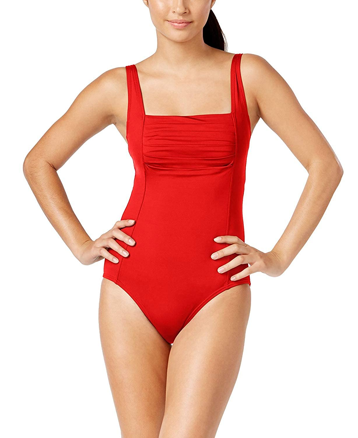 cc2461b825ec8 Calvin Klein Women's Shirred One-Piece Swimsuit at Amazon Women's Clothing  store: