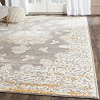 Safavieh Passion Collection PAS406F Oriental Vintage Watercolor Grey and Ivory Distressed Area Rug (51 x 77)