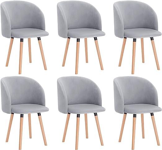 WOLTU 6X Sillas de Comedor Nordicas Estilo Vintage Dining Chairs Juego de 6 Sillas de Cocina Tulip Sillas Tapizadas en Terciopelo Silla de Conferencia Silla de ...