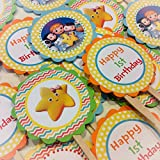 12 - Cupcake Toppers - Little Baby Bum Inspired Happy Birthday Collection - Rainbow Chevron, Yellow Polka Dots & Orange, Green, Yellow and Blue Accents - Party Packs Available