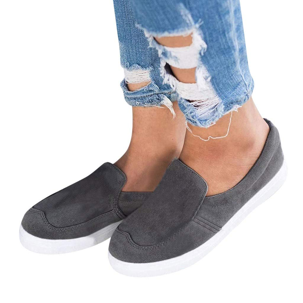 2019 New Women's Shoe Flat Low Heel Soft Solid Flock Single Shoes Shallow Casual Outdoors Sneakers Single Shoes (Dark Gray, 5.5 M US)
