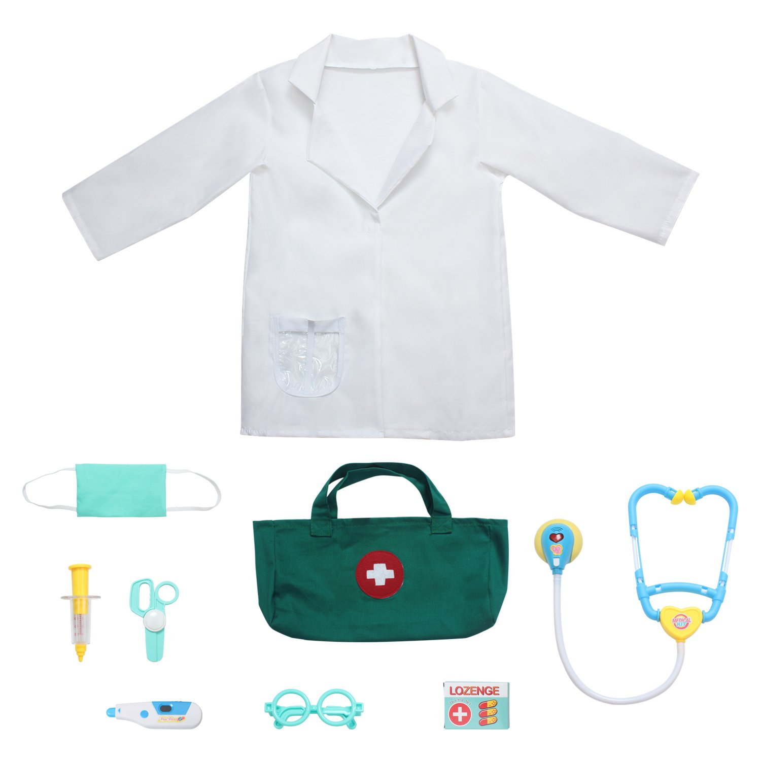 fedio 9Pcs Kids Doctor Costume Dress up Role Play Set with Doctor Lab Coat,Mask and Accessories for Toddlers Ages 3-6