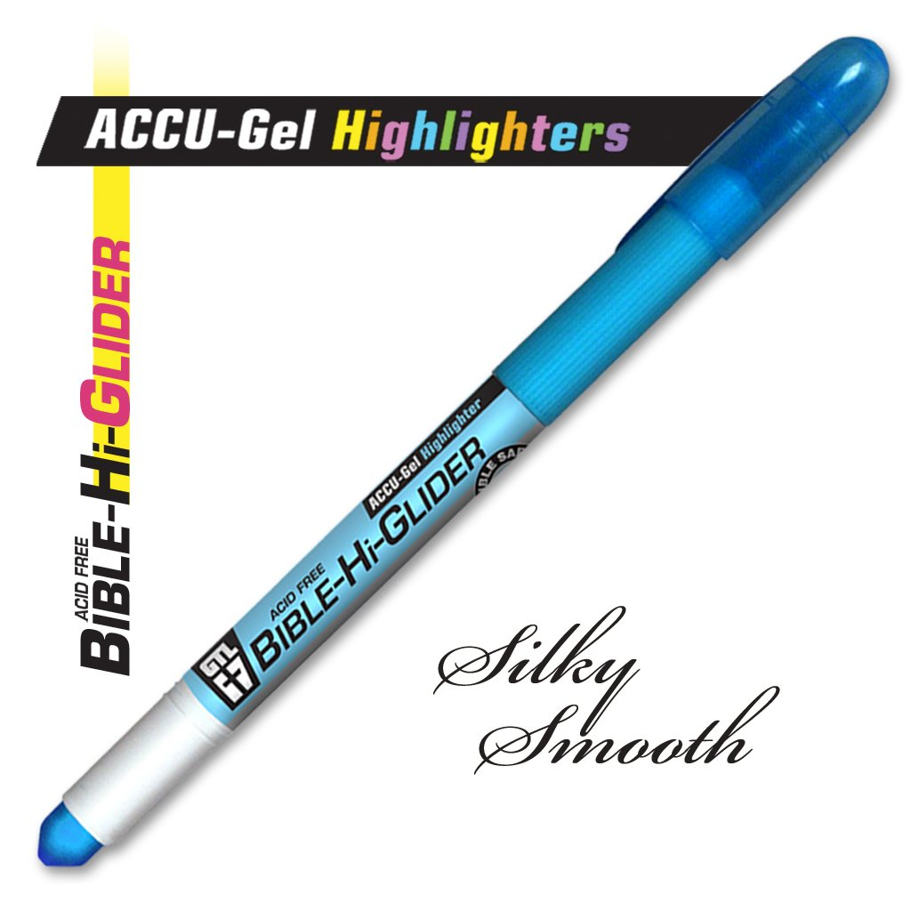 2 Pack No Bleed Through! Set of 6 Accu-Gel Study Kit Bible Hi-Glider Highlighters