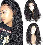 Freyja Glueless Lace Front Wigs Long Natural Curly Wave Realistic Looking Synthetic Lace Front Wig Natural Hairline Heat Resistant Fiber Wig For Women with Baby Hair (22 Inch Black Color)