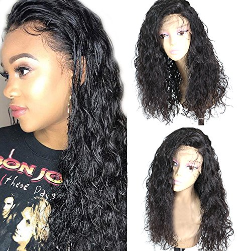Freyja Glueless Lace Front Wigs Long Natural Curly Wave Realistic Looking Synthetic Lace Front Wig Natural Hairline Heat Resistant Fiber Wig For Women with Baby Hair (22 Inch Black -