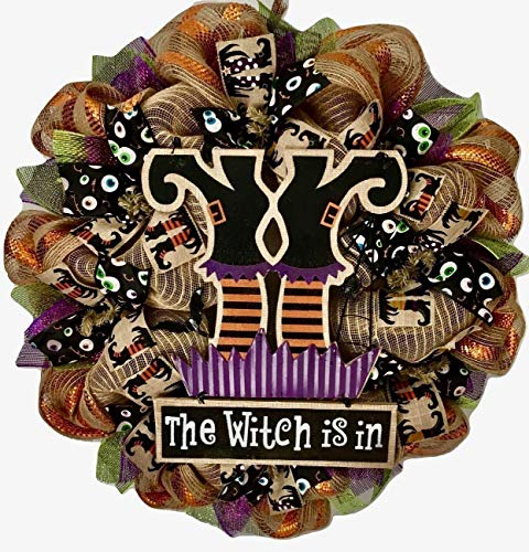 The Witch is In Handmade Deco Mesh Halloween Wreath