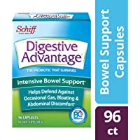 Intensive Bowel Support Probiotic Supplement - Digestive Advantage 96 Capsules, defends against gas, bloating, abdominal discomfort, Survives 100x Better