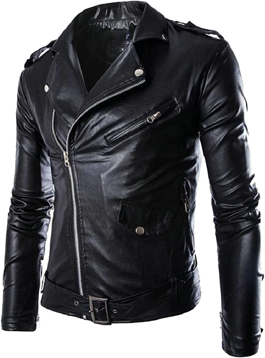 ONTBYB Mens Oblique Zip Pu Leather Motorcycle Rider Jacket