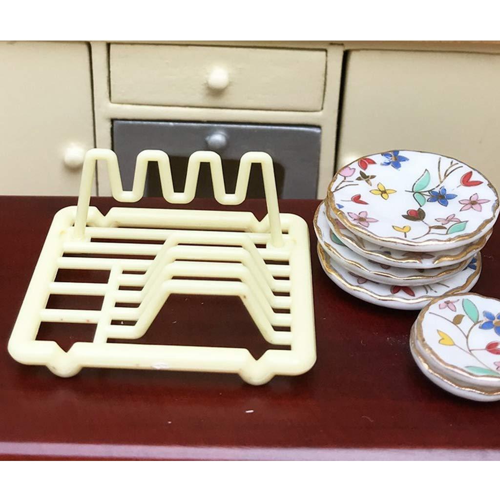 Fityle 1//12 Scale Plastic Dish Rack Kitchen Furniture Tableware Dollhouse Miniature Accessories 2pcs Set