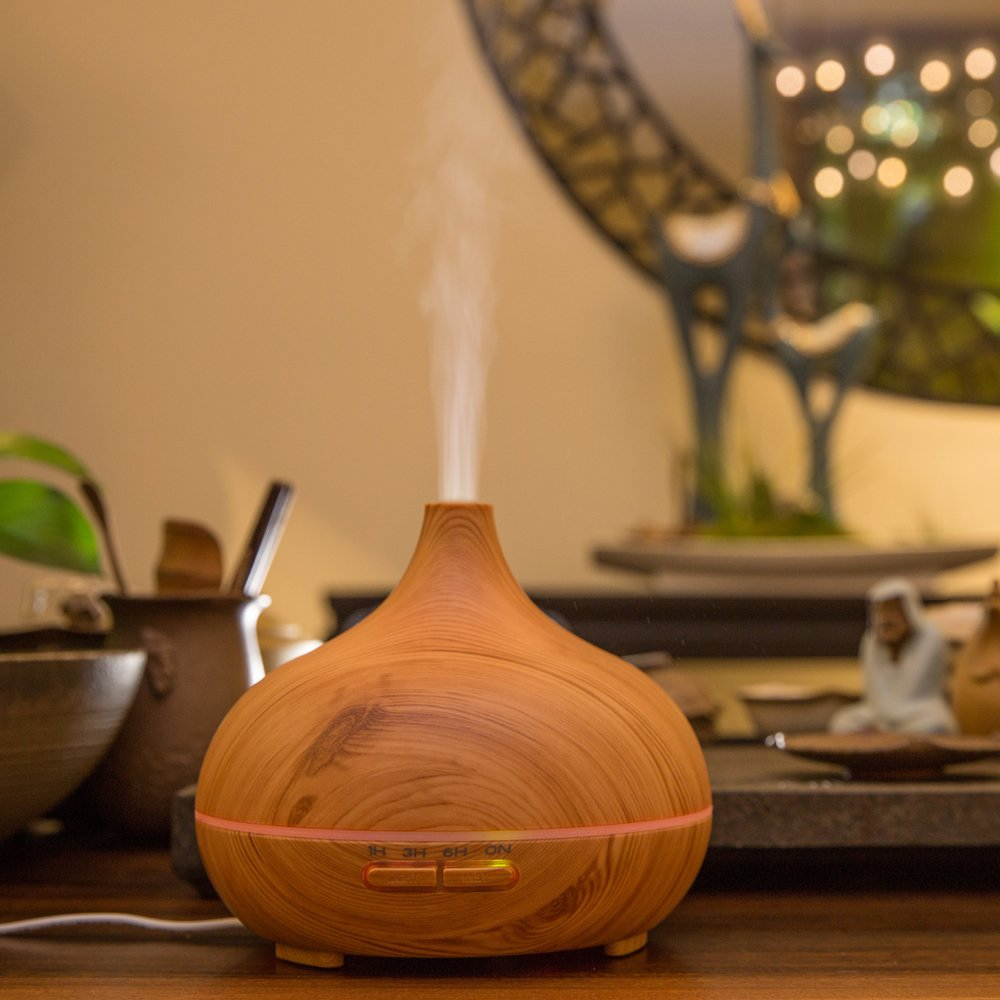 300ml Portable Wood Ultrasonic Cool Mist Aroma Humidifier with Color LED Lights FD25 by Purple-Violet (Image #6)