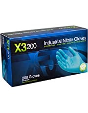 AMMEX - X3D46100-BX - Nitrile Gloves - Disposable, Powder Free, Latex Rubber Free, Food Safe, 3 mil Thick, Large, Blue Nitrile Gloves (Box of 200)