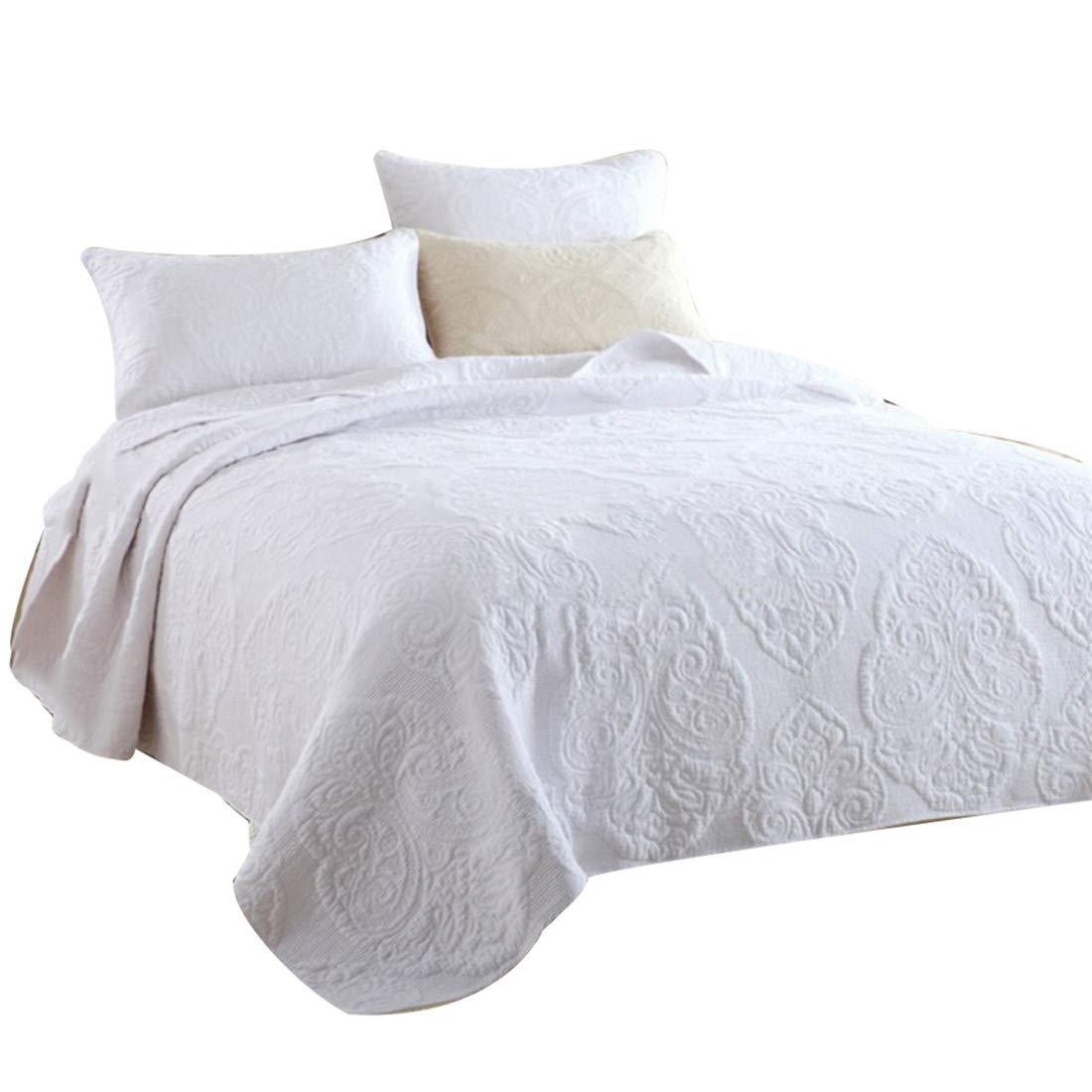 Unimall Colcha de piqué para Cama de 250 * 270 cm y 2 Fundas de Almohada 50 * 70 cm Colcha Boutí (100% de Algodón) (Blanca)
