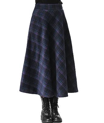 28a0bb98ab Femirah Women's Winter Long Maxi Wool Plaid Skirt High Waisted A line Skirt  (Waist 63.5