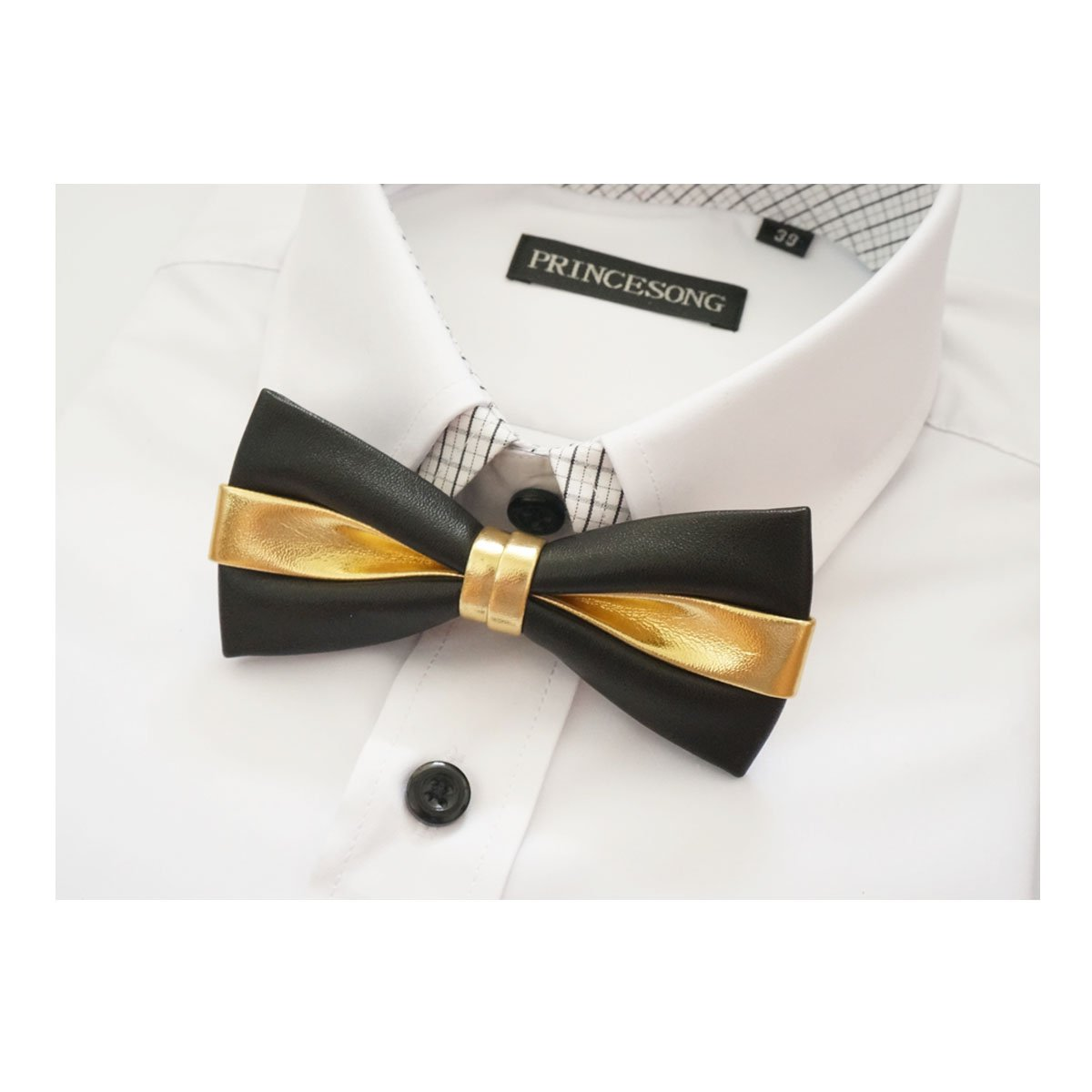 Sunny Home Wedding Party Pre Tied Adjustable Synthetic Leather Bow Ties Bowtie