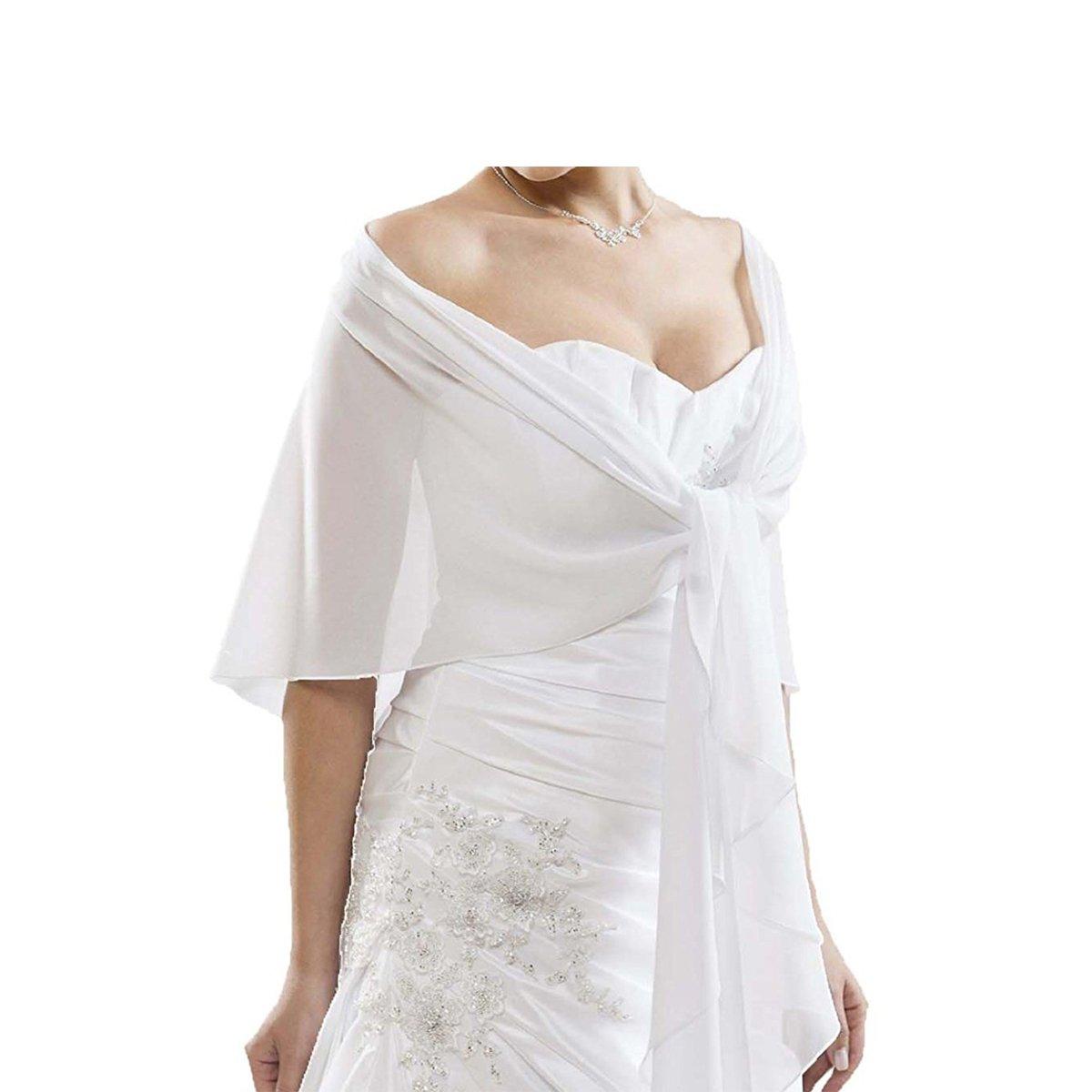 CoCogirls Chiffon Stola Schal für Kleider in verschiedenen Farben zu jedem Brautkleid - Abendkleid, Hochzeit Abend Gala Empfang (One-Size, White 1)
