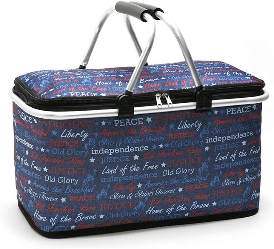Cesta de pícnic plegable con aislamiento térmico, bolsa de pícnic, bolsa de pícnic, bolsa de viaje plegable para oficina, vacaciones familiares, 29 ...