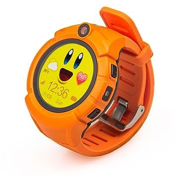 PINCHU Relojes Inteligentes para Niños Q360 Ubicación GPS Reloj Inteligente para Niños Sos Monitor Anti-Perdidos Reloj para Bebés PK Q50 Q90,Orange: ...