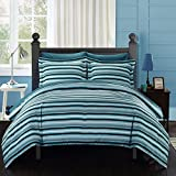 natasha 7 piece striped printed reversible queen bed in a bag comforter set blue with sheet set