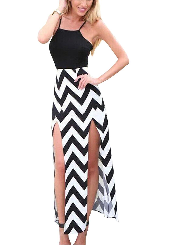 Lymanchi Damen Sommerkleid Ärmellos Freizeitkleider Streifen Schlinge Chiffon-Kleid