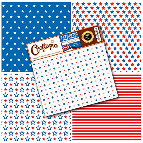 Flag Transfer (Patriotic Pattern Vinyl Sheets 4th of July Prints 4+1 Pack | USA American Flag Stars & Stripes Red White Blue Printed Pattern for Cricut Silhouette Cameo Craft Cutter | Comparable to Oracal 651)