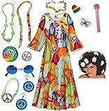 Lava Love Hippie Dress Plus Size Halloween Costume Curly Wig Kit 8x