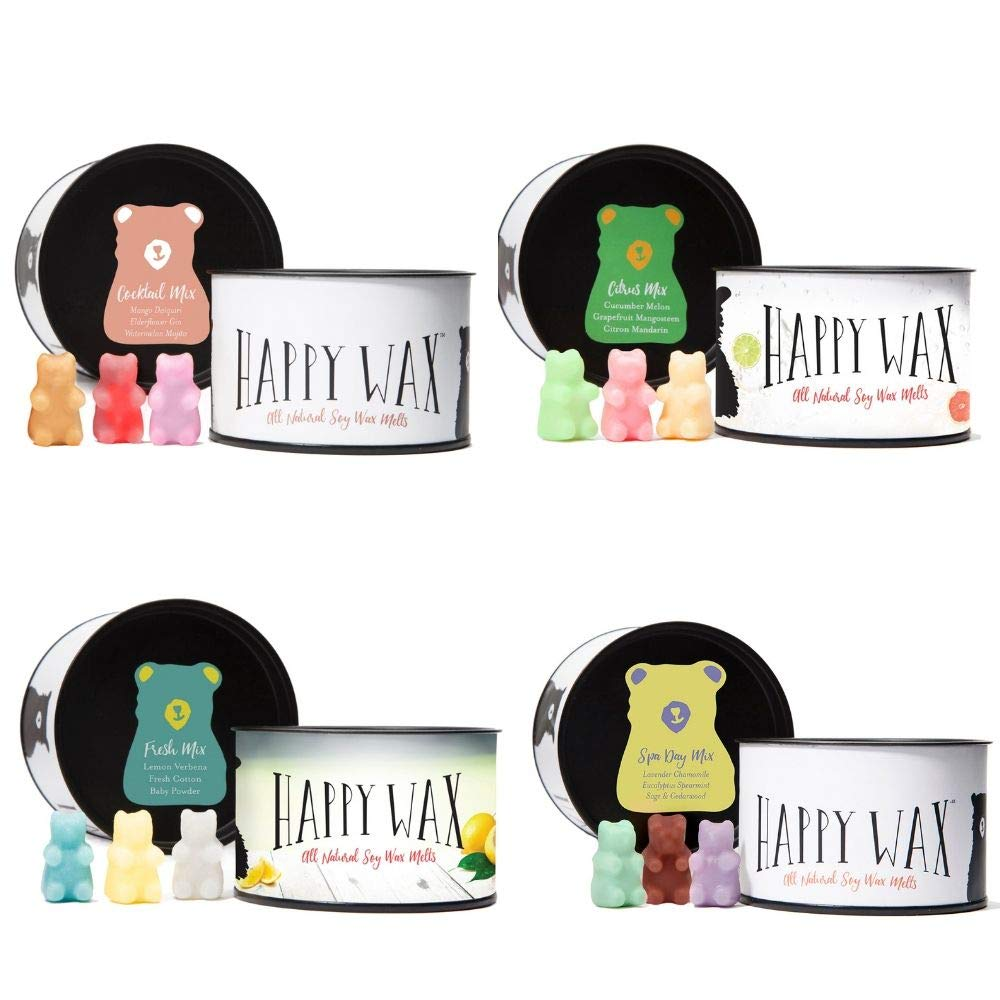Happy Wax - Four Mixed Tins Wax Melt Gift Set - Includes 3.6 Oz Each of Our Scented Soy Wax Melts in Our Cocktail Mix, Fresh Mix, Citrus Mix, and Spa Day Mix!