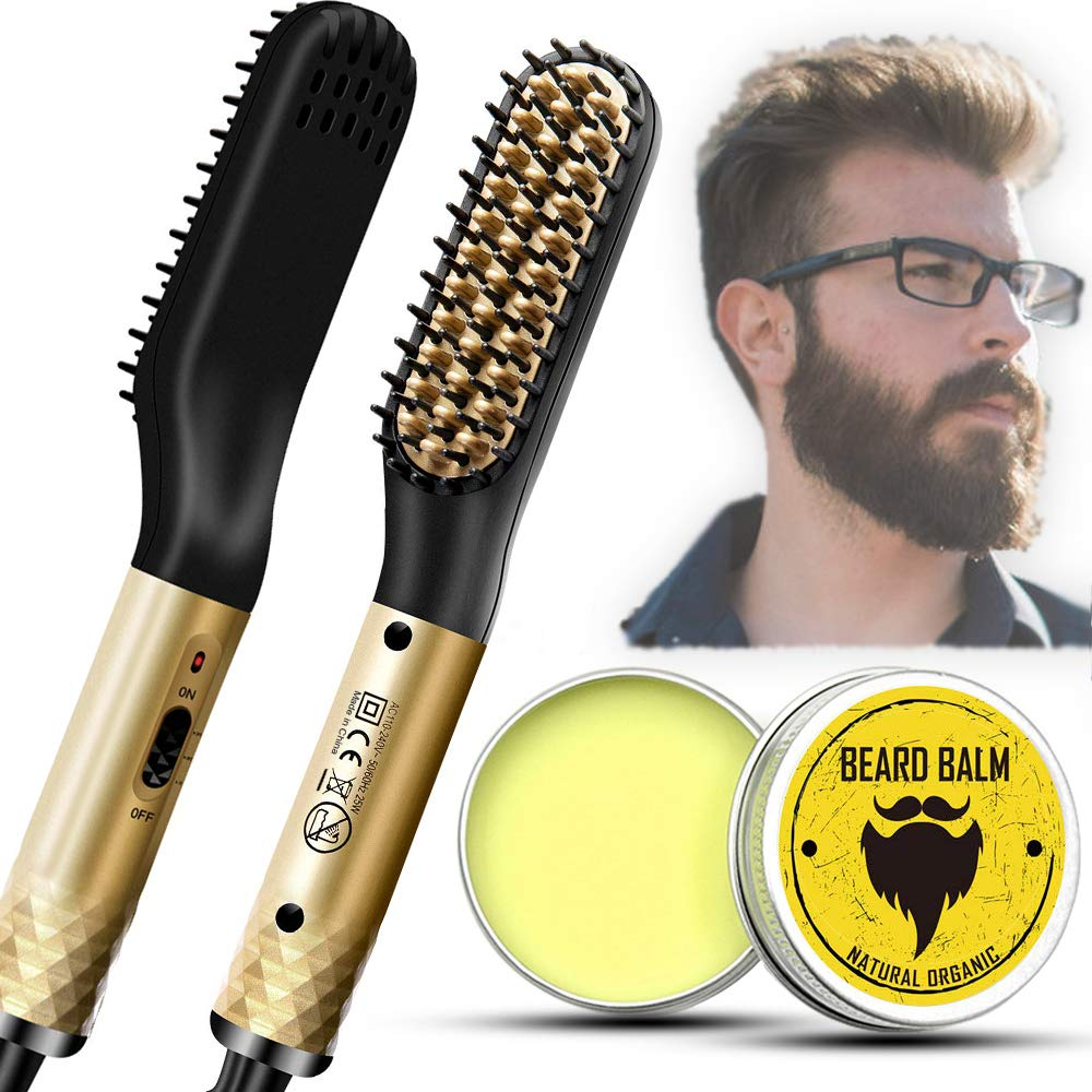 Beard Straightener, Hair Straightener Brush for Men, Electric Heated Beard Comb With FREE Beard Balm, Anti-Scald Portable Ionic Heating Control, Great Gifts for Men and Women