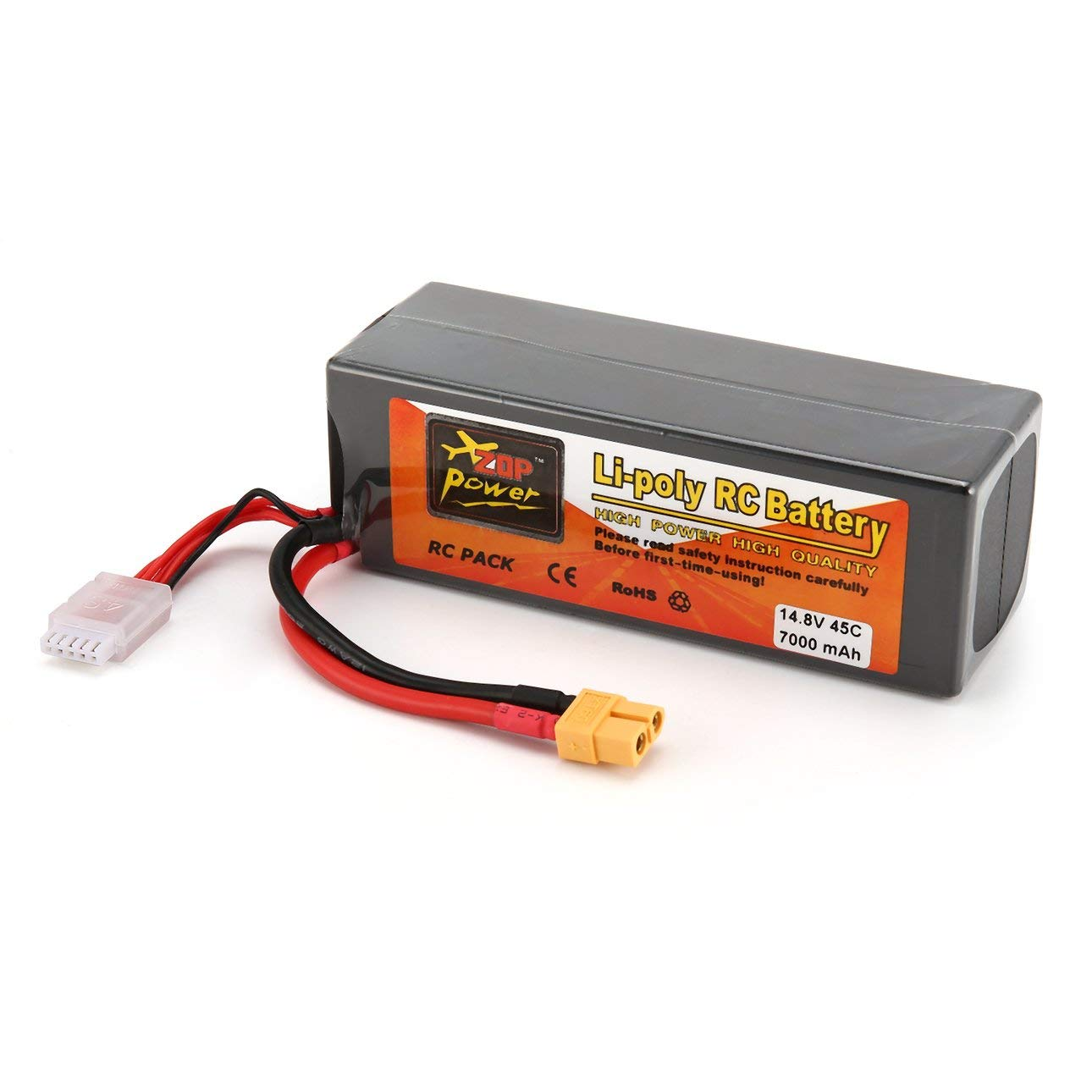 Liobaba 14.8V 7000mAh 45C 4S 1P Lipo Battery XT60 Plug Rechargeable RC Racing Drone Quadcopter Helicopter Car Boat Model Dark-Gray