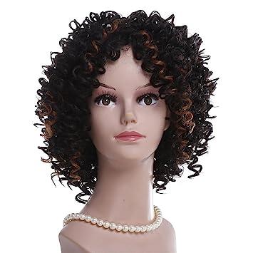 Sintético Afro Rizado Peluca Suave Seda Fibra por Negro Mujer Corto Rizado Cabello Natural Negro Color