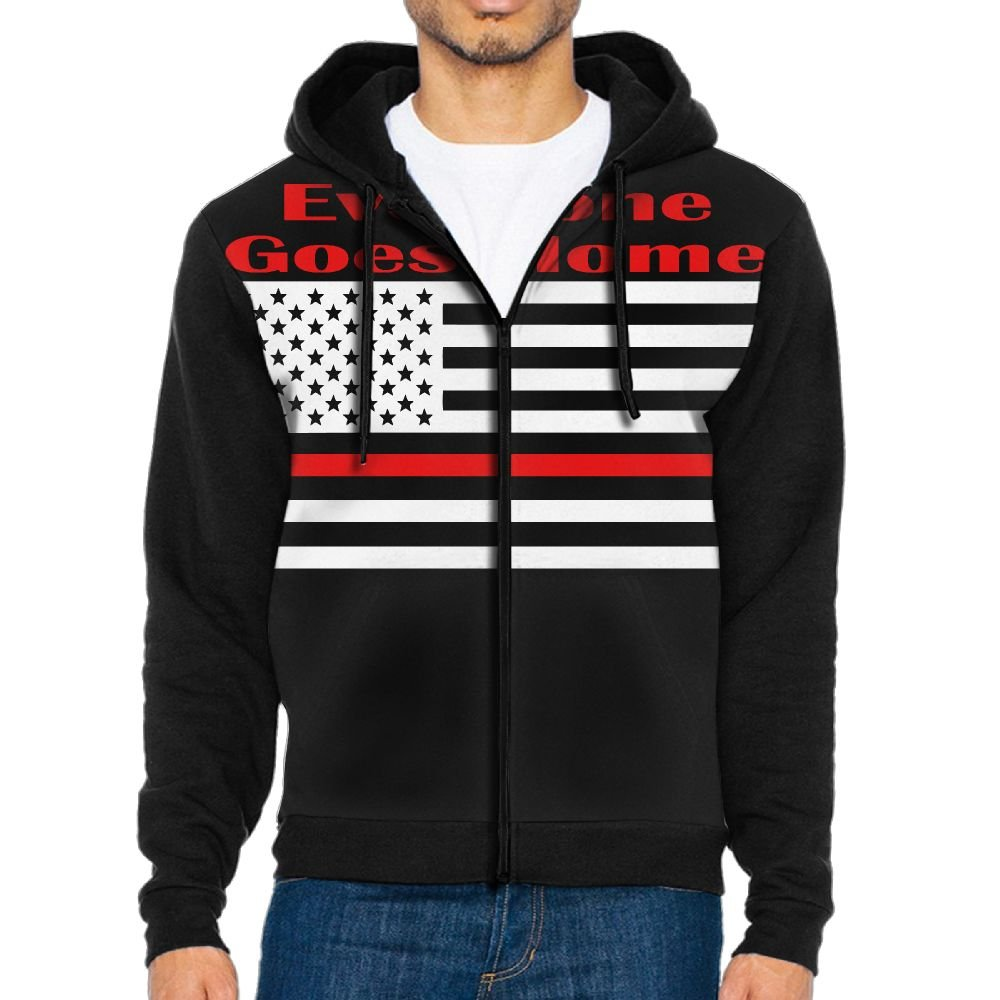 Mars Sight Sweatshirt Mens Everyone Goes Home Red Line Firefighter Flag Full Zip Up Hoodie Jacket With Pocket