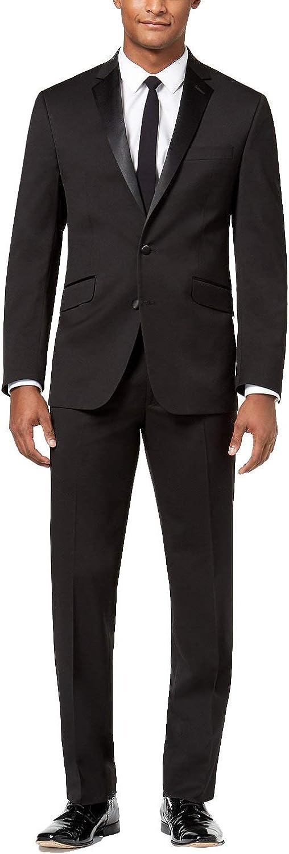 Adam Baker Men's Super 140's 100% Wool Slim Fit Two-Piece Notch Lapel Formal Tuxedo Suit