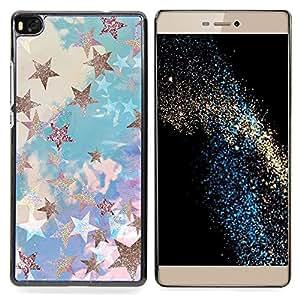 """For Huawei Ascend P8 (Not for P8 Lite) Case , Estrella de Oro Nubes Glitter Azul Púrpura"""" - Diseño Patrón Teléfono Caso Cubierta Case Bumper Duro Protección Case Cover Funda"""