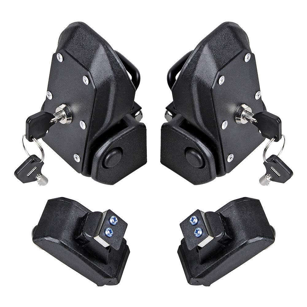 2X Black Aluminum Latch Locking Hood Catch Kit w//Key Compatible with 2018-2019 Jeep Wrangler JL 2 4 Door