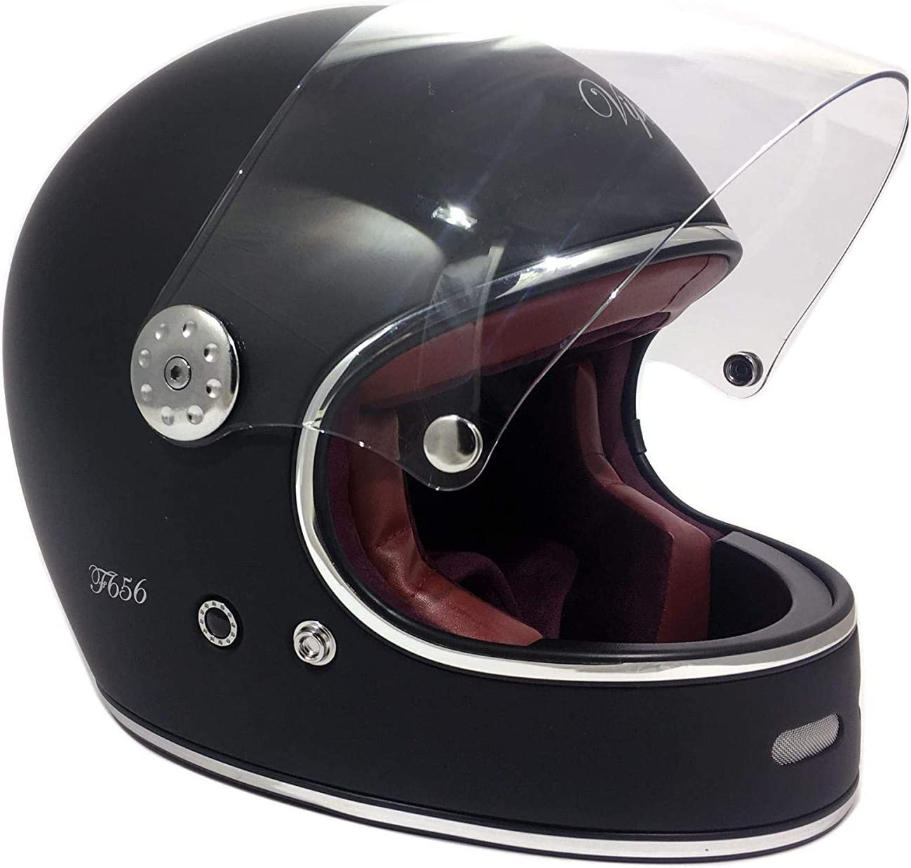 Viper F656/vintage/ colore /in fibra di vetro classico moto casco integrale Nero//Bianco